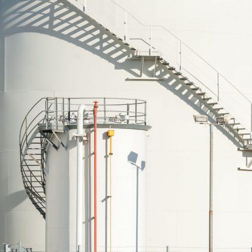 large industrial fuel storage depot detail